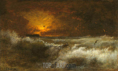 Sunset over the Sea, 1887 | George Inness| Painting Reproduction