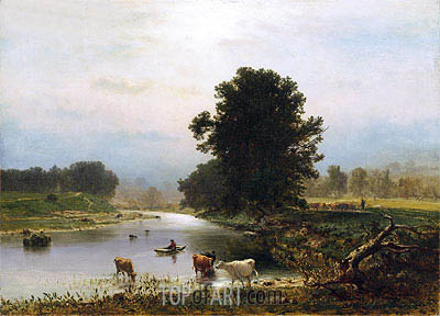 A View near Medfield, 1861 | George Inness| Painting Reproduction