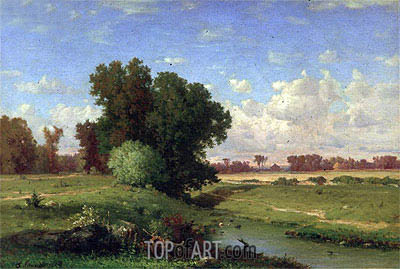 Hackensack Meadows, Sunset, 1859 | George Inness | Painting Reproduction
