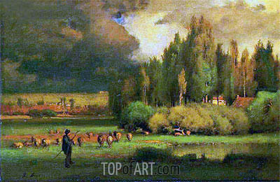 Shepherd in a Landscape, c.1875 | George Inness | Painting Reproduction