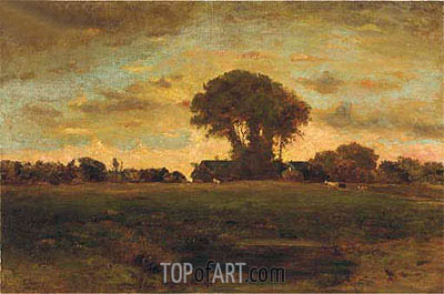 Sunset on a Meadow, 1878 | George Inness | Painting Reproduction