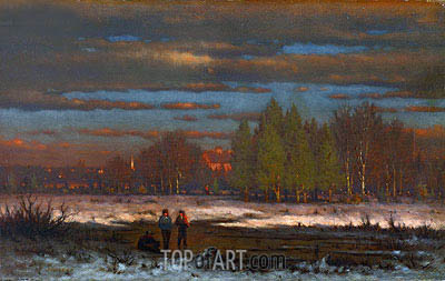 George Inness | Winter Evening, Medfield, undated