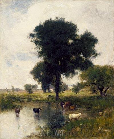 Rinder im Pool (Eine Sommerlandschaft), 1880 | George Inness | Gemälde Reproduktion