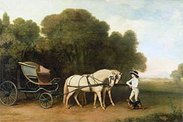 A Phaeton with a Pair of Cream Ponies in the Charge of a Stable-Lad, c.1780/85 by George Stubbs | Painting Reproduction