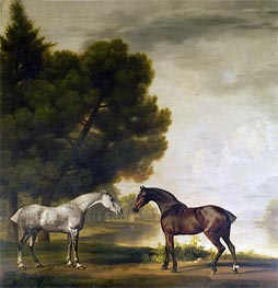 A Grey and a Bay in a Landscape, undated by George Stubbs | Painting Reproduction
