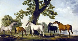 Five Brood Mares, undated by George Stubbs | Painting Reproduction
