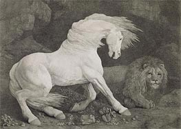 A Horse Affrighted by a Lion, 1788 by George Stubbs | Painting Reproduction