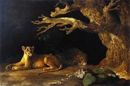 Lioness and Cave, undated by George Stubbs | Painting Reproduction