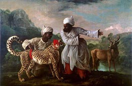 Cheetah and Stag with Two Indians, c.1765 by George Stubbs | Painting Reproduction
