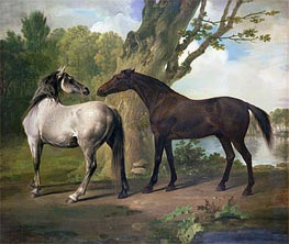 Two Horses in a Landscape, undated by George Stubbs | Painting Reproduction