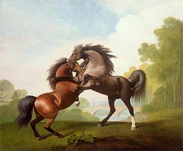 Horses Fighting, 1791 by George Stubbs | Painting Reproduction