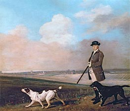 Sir John Nelthorpe, 6th Baronet out Shooting with his Dogs in Barton Field, Lincolnshire, 1776 von George Stubbs | Gemälde-Reproduktion