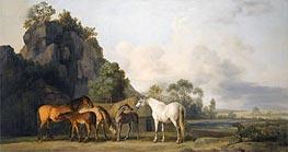 Zuchtstuten und Fohlen, undated von George Stubbs | Gemälde-Reproduktion