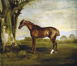 Antinoüs, a Chestnut Racehorse in a Landscape, undated by George Stubbs | Painting Reproduction