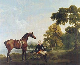 Portrait of a Hunter (James Hamilton, Second Earl of Clanbrassill with His Horse Mowbray), c.1764/65 by George Stubbs | Painting Reproduction
