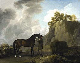 The Marquess of Rockingham's Arabian Stallion (led by a Groom at Creswell Crags), 1766 by George Stubbs | Painting Reproduction