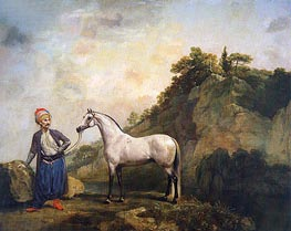 Gray Arabian with a Groom, c.1765/66 by George Stubbs | Painting Reproduction