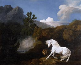 A Horse frightened by a Lion, 1770 by George Stubbs | Painting Reproduction