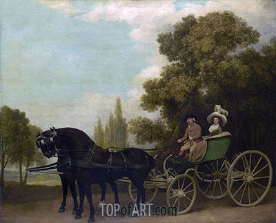 A Gentleman driving a Lady in a Phaeton, 1787 | George Stubbs| Painting Reproduction