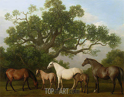 Mares and Foals under an Oak Tree, 1773 | George Stubbs | Gemälde Reproduktion