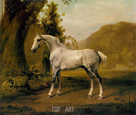 A Grey Stallion In a Landscape, c.1765 | George Stubbs | Painting Reproduction