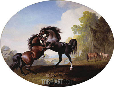 Stallions Fighting, 1781 | George Stubbs| Painting Reproduction