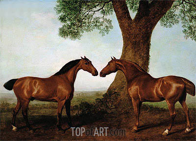 Two Bay Hunters by a Tree, 1786 | George Stubbs| Gemälde Reproduktion