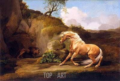 George Stubbs | A Horse Frightened by a Lion, c.1790/95