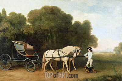 George Stubbs | A Phaeton with a Pair of Cream Ponies in the Charge of a Stable-Lad, c.1780/85