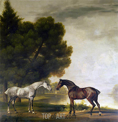 A Grey and a Bay in a Landscape, undated | George Stubbs| Painting Reproduction