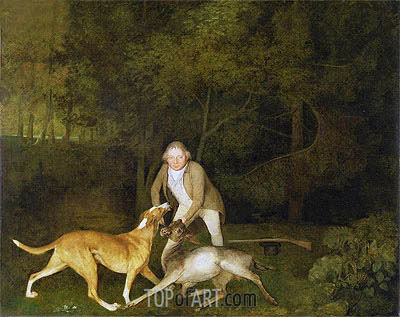 Freeman, the Earl of Clarendon's Gamekeeper with a Dying Doe and Hound, 1800 | George Stubbs| Painting Reproduction