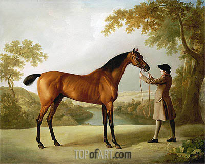 George Stubbs | Tristram Shandy, a Bay Racehorse Held by a Groom in an Extensive Landscape, c.1760