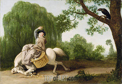 The Farmer's Wife and the Raven, 1786 | George Stubbs | Gemälde Reproduktion