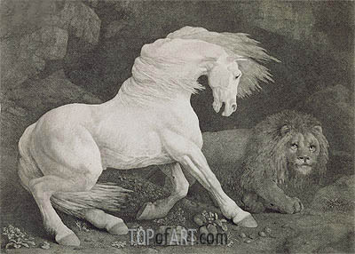 A Horse Affrighted by a Lion, 1788 | George Stubbs| Painting Reproduction