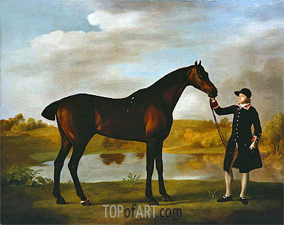 George Stubbs | The Duke of Marlborough's Bay Hunter, with a Groom in Livery in a Lake Landscape, undated