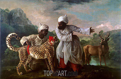 George Stubbs | Cheetah and Stag with Two Indians, c.1765