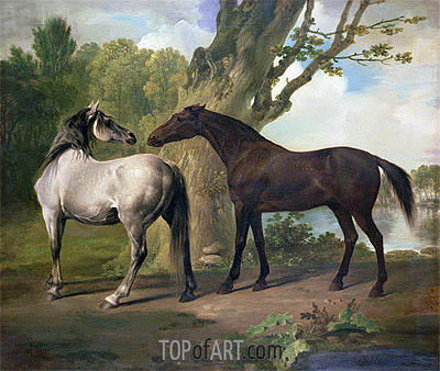 George Stubbs | Two Horses in a Landscape, undated