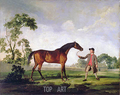 George Stubbs | The Duke of Ancaster's Bay Stallion 'Spectator', Held by a Groom, c.1762/65