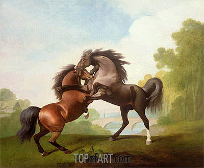 Horses Fighting, 1791 | George Stubbs| Painting Reproduction