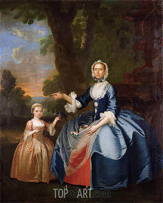 Portrait of Mrs Dawson of Retford and Her Daughter, c.1749 | George Stubbs | Painting Reproduction