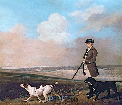Sir John Nelthorpe, 6th Baronet out Shooting with his Dogs in Barton Field, Lincolnshire, 1776 | George Stubbs | Painting Reproduction