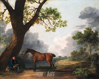 George Stubbs | The Third Duke of Dorset's Hunter with a Groom and a Dog, 1768