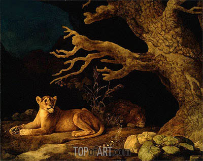 Lion and Lioness, 1771 | George Stubbs| Painting Reproduction