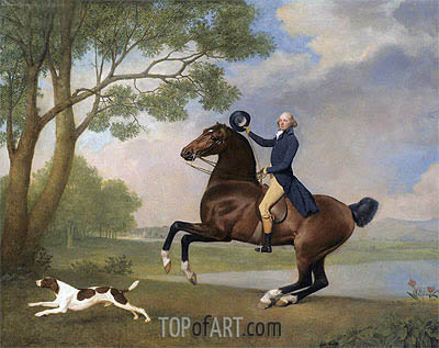 George Stubbs | Portrait of Baron de Robeck Riding a Bay Hunter, 1791