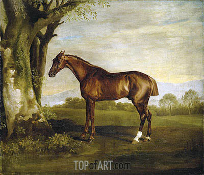 Antinoüs, a Chestnut Racehorse in a Landscape, undated | George Stubbs| Painting Reproduction