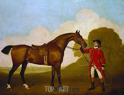 A Bay Horse with a Groom, 1791 | George Stubbs| Gemälde Reproduktion
