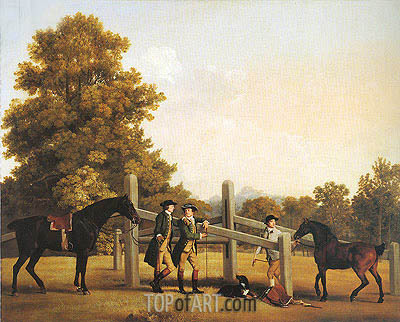 William Henry Cavendish-Bentinck, Third Duke of Portland and His Brother Lord Edward Bentinck with a Groom and Horses, c.1866/67 | George Stubbs| Painting Reproduction