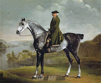 Joseph Smyth Esquire, Lieutenant of Whittlebury Forest, Northamptonshire, on a Dapple Grey Horse, c.1762/64 | George Stubbs | Painting Reproduction