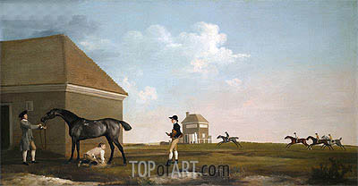 Gimcrack on Newmarket Heath with a Trainer, a Stable-Lad and a Jockey, 1765 | George Stubbs | Painting Reproduction