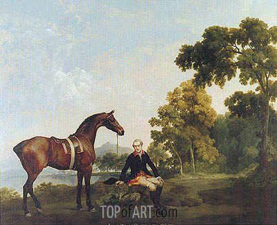 George Stubbs | Portrait of a Hunter (James Hamilton, Second Earl of Clanbrassill with His Horse Mowbray), c.1764/65